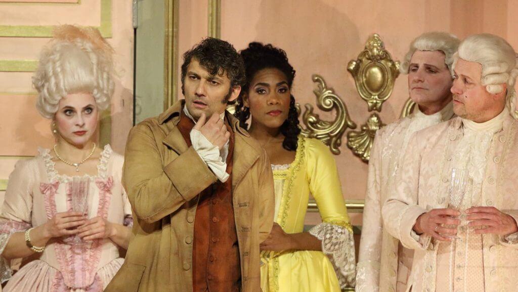Jonas Kaufmann (Andrea Chénier) und J'Nai Bridges (Bersi) an der Bayerischen Staatsoper