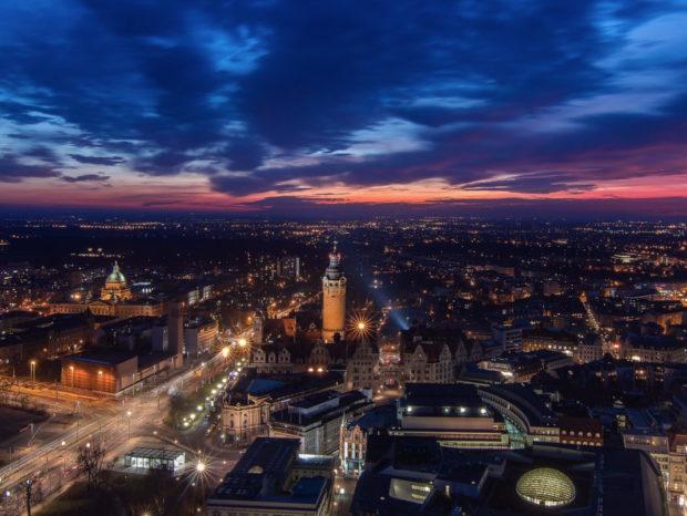 Leipzig in der Dämmerung