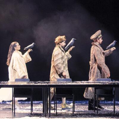Yevhen Rakhmanin (Theodorus), Julie Goussot (Axinia), Joan Folqué (Gavust), Olivier Gourdy (Boris)